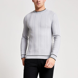 River Island Grey tipping muscle fit rib knitted top