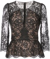 Marchesa lace peplum blouse