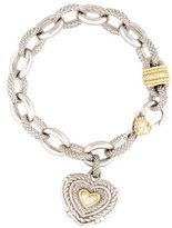 Judith Ripka Bi-Color Diamond Heart Charm Bracelet