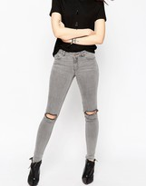 Asos Lisbon Skinny Mid Rise Jeans in Sant Gray Wash with Rip and Destroy Knees