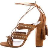Aquazzura Tulum Fringe Lace-Up Sandals