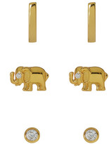Argentovivo Circle, Elephant & Bar Stud Earrings Set - Set of 3