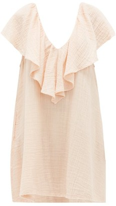 BRIGITTE Anaak Ruffled-neck Cotton-gauze Dress - Womens - Light Pink