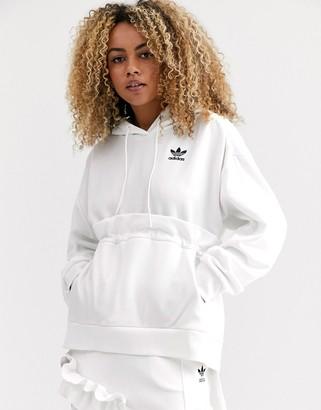 adidas x J KOO trefoil ruffle hoodie in off white -