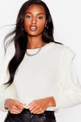 Nasty Gal Womens Good Meets Shoulder Pad Knitted Crew Neck Sweater - Ivory
