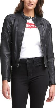 Levi's Zip Front Water Repellent Faux Leather Moto Jacket