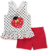 Kids Headquarters White Polka Dot Tank & Red Shorts - Toddler