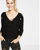 Express black perforated wedge pullover sweater