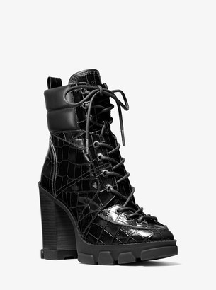 MICHAEL Michael Kors Ridley Crocodile Embossed Leather Lace-Up Boot