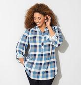 Avenue Blue Plaid Popover Shirt