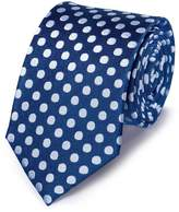Charles Tyrwhitt Royal and White Silk Large Spot Classic Tie Size OSFA