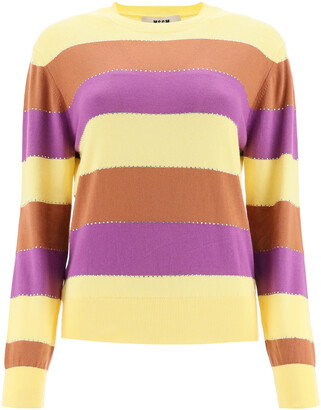 MSGM STRIPED SWEATER WITH CRYSTALS S Yellow, Brown, Purple Cotton