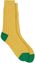 Paul Smith Men's Dixon Cable-Stitched Mid-Calf Socks-Yellow