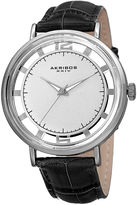 Akribos XXIV Mens Silver-Tone Dial Black Leather Strap Watch