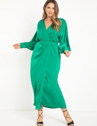 ELOQUII Satin Maxi Wrap Dress