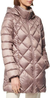 Andrew Marc Diamond Quilted Lacquer Puffer Coat