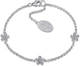 Laura Ashley Diamond Accented Sterling Silver Flower Link Bracelet