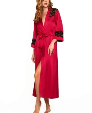 iCollection Women's Luxury Long Robe Trimmed in Lace