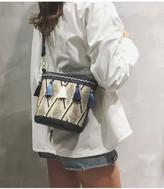 Goodnight Macaroon 'Sanni' Bohemian Raffia Tassels Bucket Bag (2 Colors)