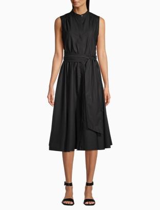 Calvin Klein Button-Front Belted A-Line Dress