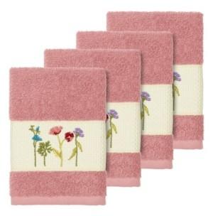 Linum Home Turkish Cotton Serenity 4-Pc. Embellished Washcloth Set Bedding