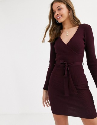 Lipsy knitted dress with tie waist in burgundy-Red