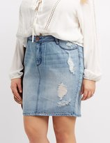 Charlotte Russe Plus Size Refuge Destroyed Denim Pencil Skirt