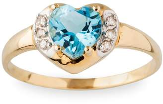 Fine Jewellery 10K Yellow Gold Blue Topaz Diamond Heart Ring