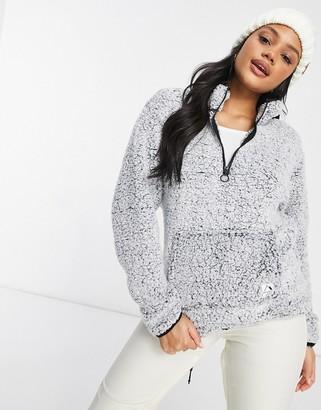 Protest Camille quarter zip fleece in white/black
