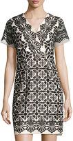 Shoshanna Maria Embroidered Sheath Dress, Black/White