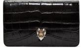 Alexander McQueen Black Croc-Embossed Heart Envelope Clutch