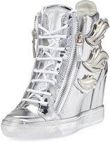 Giuseppe Zanotti Metallic Wings Wedge Sneaker, Silver