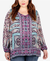 Lucky Brand Trendy Plus Size Printed Blouse