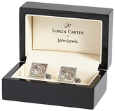 Simon Carter For John Lewis Archive Mother Of Pearl Tile Cufflinks, Grey