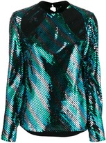 Rixo cut out sequin-embellished blouse