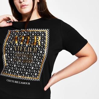 River Island Womens Plus Black RI monogram short sleeve t-shirt