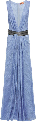 Missoni Wrap-effect Metallic Crochet-knit Maxi Dress