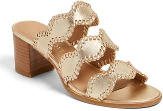 Jack Rogers Logan Mid-Heel Metallic Whipstitch Slide Sandals