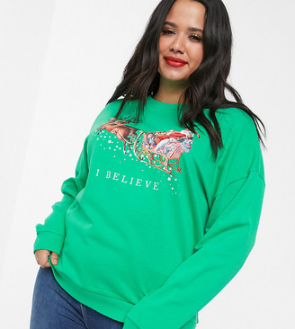 Asos DESIGN Curve Holidays sweatshirt with I believe festive motif