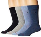 Tommy Hilfiger Men's 4 Pack Flat Knit Logo Crew Sock