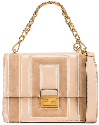 Fendi Embossed Kan U Bag in Nude | FWRD