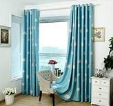 LQF Window Treatments White Cloud Printing Blackout Curtain Panel , Darkening Thermal Insulated Heating Against Drapes for Kid's Bedroom (One Panel) , Blue , W54 by L96 inch