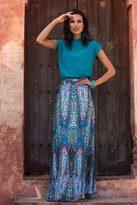 Shabby Apple Mosaic Maxi Skirt Blue