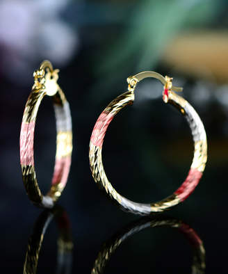 Sevil Designs Women's Earrings Gold - Tri-Tone Swirl Hoop Earrings