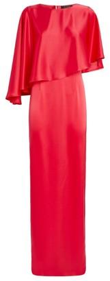 St. John Liquid Satin Cape Dress