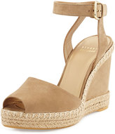 Stuart Weitzman WayCool Nubuck Wedge Sandal, Saddle