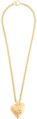 Chanel Pre Owned 1993 CC logo heart motif chain necklace
