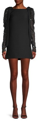 Valentino Sequin Puff-Sleeve Shift Dress