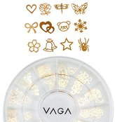 120 Gold Metal Manicure Nail Art Wheel Gems Decorations in 12 Designs By Cheeky®