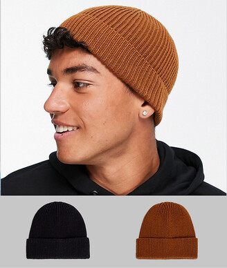 ASOS DESIGN 2 pack fisherman beanie in tobacco and black SAVE